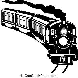 Vintage train - Illustration on rail transport isolated on...