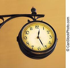 vintage train station clock