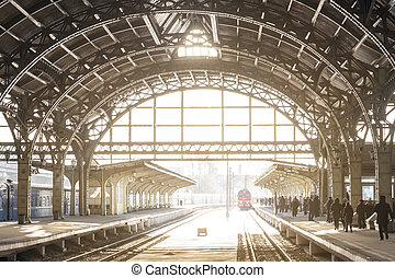 Vintage Train Station With Metal Roof