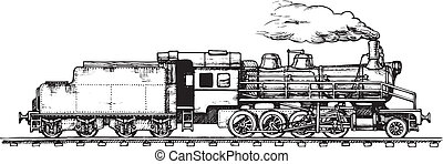 vintage train - Vector drawing of train stylized as...