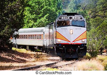 Vintage Train - Vintage tourist train engine on curved track
