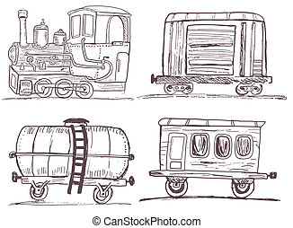 vintage train with wagons - outline - Illustration of...