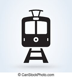 Vintage tram front view icon. Trams on the railway ...
