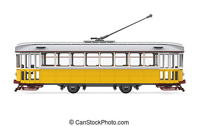 Vintage Tram Isolated