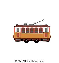 Vintage tram. Retro tram. Detailed tram. Side view tram. Touristic tram. Yellow tram