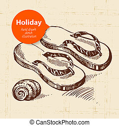 Vintage travel and holiday background with flip-flops. Hand...