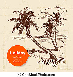 Vintage travel and holiday background. Hand drawn sketch illustration