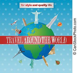 Vintage travel around the world pos