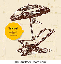 Vintage travel background with beach armchair and umbrella....