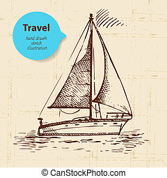 Vintage travel background with boat. Hand drawn illustration...
