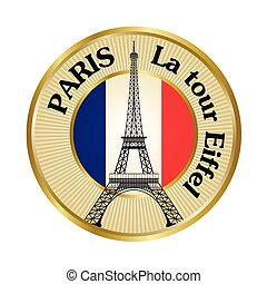 Vintage travel badge with Eiffel tower