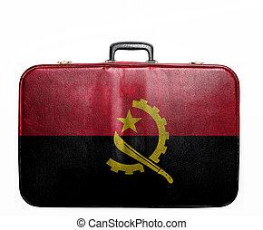 Vintage travel bag with flag of Angola