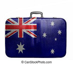 Vintage travel bag with flag of Australia