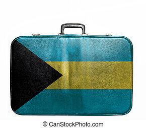 Vintage travel bag with flag of Bahamas