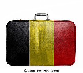 Vintage travel bag with flag of Belgium
