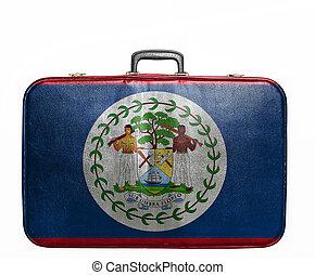 Vintage travel bag with flag of Belize