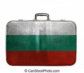 Vintage travel bag with flag of Bulgaria