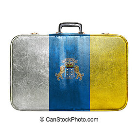 Vintage travel bag with flag of Canary Islands