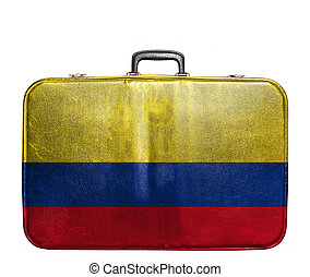 Vintage travel bag with flag of Colombia