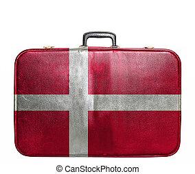 Vintage travel bag with flag of Denmark