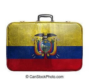 Vintage travel bag with flag of Ecuador