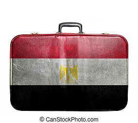 Vintage travel bag with flag of Egypt