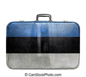 Vintage travel bag with flag of Estonia