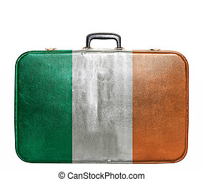Vintage travel bag with flag of Ireland