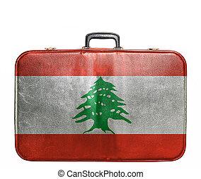 Vintage travel bag with flag of Lebanon