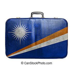 Vintage travel bag with flag of Marshall Islands