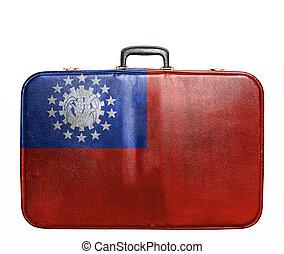 Vintage travel bag with flag of Myanmar