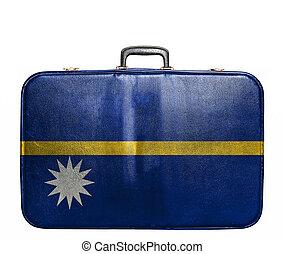Vintage travel bag with flag of Nauru
