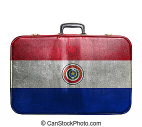 Vintage travel bag with flag of Paraguay