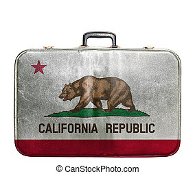Vintage travel bag with flag of California