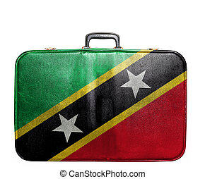 Vintage travel bag with flag of Saint Kitts and Nevis