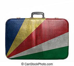 Vintage travel bag with flag of Seychelles