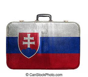 Vintage travel bag with flag of Slovakia