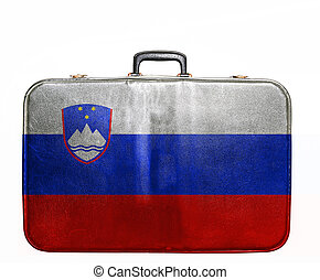 Vintage travel bag with flag of Slovenia