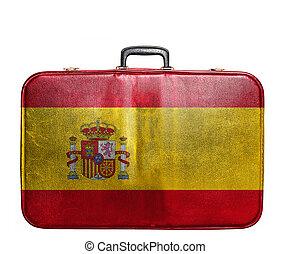 Vintage travel bag with flag of Spain