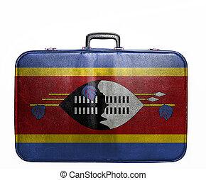 Vintage travel bag with flag of