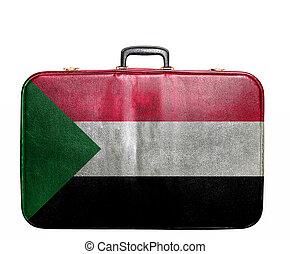 Vintage travel bag with flag of Sudan