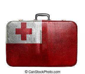 Vintage travel bag with flag of Tonga