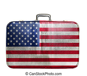 Vintage travel bag with flag of United States of America