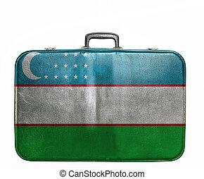 Vintage travel bag with flag of Uzbekistan