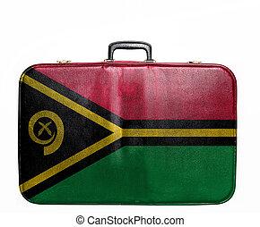 Vintage travel bag with flag of Vanuatu