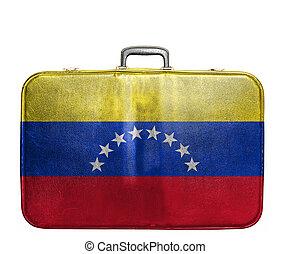 Vintage travel bag with flag of Venezuela