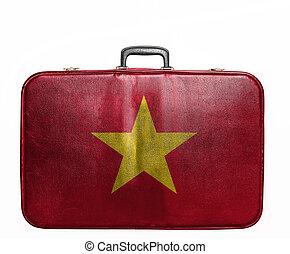 Vintage travel bag with flag of Vietnam