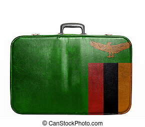 Vintage travel bag with flag of Zambia