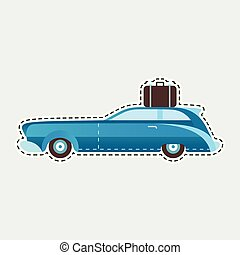 Vintage travel car in patch style. Clip art for sticker or pin.