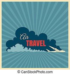 Vintage travel logo with plane